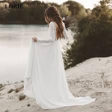 <b>LORIE Beach Wedding Dress</b> Long Sleeve Boho V Neck Open Back ...