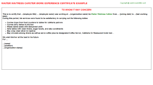 work experience certificates   waiter waitress cafeter