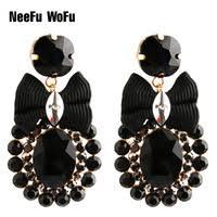 <b>NeeFu WoFu</b> Flash leather Earrings brand Big Earrings for Woman ...