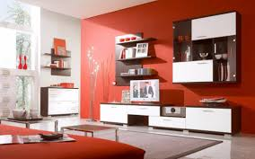 Red Wall Living Room Decorating Furniture Cool Wood Shelf For Interior Decorating And Furniture