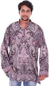 Lakkar Havali Indian Pashmina Silk Animal Print <b>Men's</b> Shirt Kurta ...