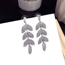 Korean new <b>fashion</b> leaves forest super fairy <b>full diamond</b> earrings ...