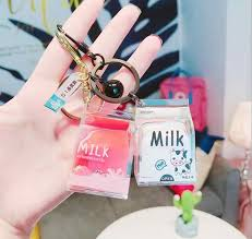 <b>Cartoon Cute</b> Cat Car Keychain <b>Creative</b> Milk Tea Cup Liquid ...