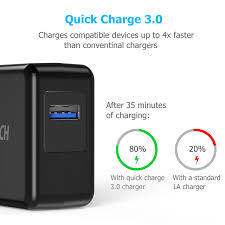 USB Wall Charger with <b>Quick Charge</b> 3.0 (No USB Cable Included)