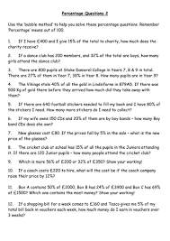 Level 4 & 5 Percentage Word Problems Sheet 2 by rich4ruth ...Percentage Questions 2.doc