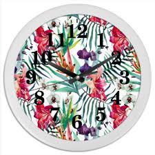 """Часы круглые из пластика """"<b>Тропические цветы</b>"""" #2230611 от ..."""
