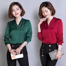 Stinlicher <b>Satin Silk Shirt Women</b> Spring Autumn Long Sleeve V ...