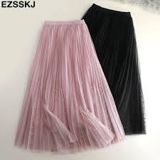 <b>2019 spring Summer Tulle</b> Skirt Women pleated tutu skirt beading A ...