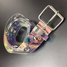 <b>1PC</b> New Transparent Laser Holographic <b>Women</b> Belt Punk Clear ...