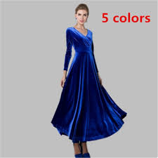 2018 New Style <b>Womens Autumn</b> Winter Maxi Dress <b>Velvet</b> Long ...