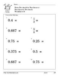 Convert Fractions and Decimals 6 4th - 6th Grade Worksheet ...Convert Fractions and Decimals 6