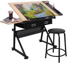 Adjustable Height <b>Drafting</b> Desk <b>Drawing</b> Table <b>Tiltable Tabletop</b>