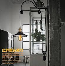 loft retro <b>American iron</b> pulley <b>wall</b> lamp antique lifting dining room ...