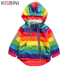 KISBINI <b>New Boys</b> Girl Jacket Rainbow Color Striped Hooded ...