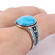 |Almas Collections| <b>New</b> Oval Sky Blue Stone <b>925 Sterling Silver</b> ...