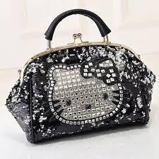 Hello Kitty Rhinestone <b>Crocodile Pattern</b> Black Leather <b>Shoulder</b> ...