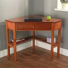 desk attractive corner writing desks solid wood construction cherry finish one drawer storage lower shelves for attractive office furniture corner desk