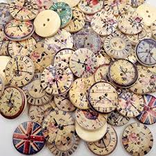 ZEJEUER <b>100pcs</b> Clock Wood Wooden Buttons <b>Round 2 Holes</b> for ...