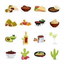 <b>Набор блюд</b> мексиканской кухни <b>закуски</b> и напитки плоские ...