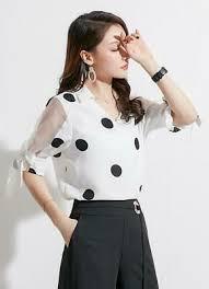 <b>2019 Womens Fashion Polka</b> Dot Chiffon Bows Short Sleeve Shirt ...