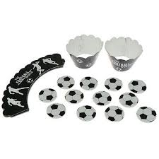 <b>24PCS</b> Football Soccer Cake Cupcake Toppers <b>Wrappers</b> Kids ...