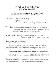resume resume babysitting template resume babysitting