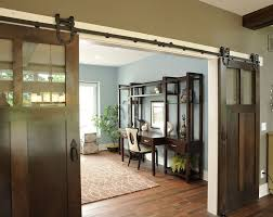barn doors home office traditional with blue and brown blue walls blue brown home office