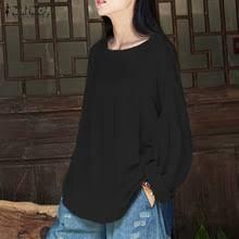 Топ blusas Новый <b>Zanzea</b> Для <b>женщин</b> Ретро <b>осень</b> сплошной o ...