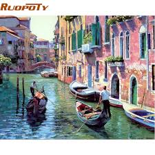 RUOPOTY <b>Frame Venice Landscape DIY</b> Painting By Number ...
