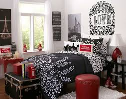 red wall paint black bed:  inspiring picture of red black and white room decoration ideas inspiring image of girl red