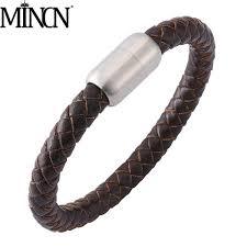 <b>MINCN bracelet</b> men Braided leather men's <b>Bracelet Stainless steel</b> ...
