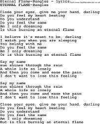 Eternal Flame Bangles Love Song Lyrics Foreternal Flame Bangles