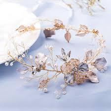 2019 <b>Slbridal</b> Pearls Flower <b>Clear</b> Rhinestones Gold Leaf Wedding ...