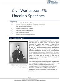 civil war lesson lincoln s speeches pdf abraham lincoln s public justification for war evolved over his years in public office