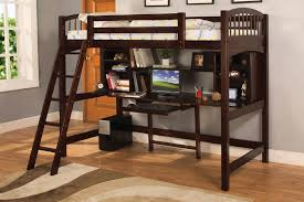 wooden loft bed with built in desk ladder and bookshelf in dark brown finishing bed and desk combo furniture