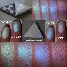 kat von d alchemist holographic palette review and swatches  as you can see from the swatches all four colors are sheer iridescent duochromes they re beautiful but also strangely familiar