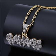 SAVAGE Necklace Brass <b>Gold Color Iced</b> Out Micro Pave Cubic ...