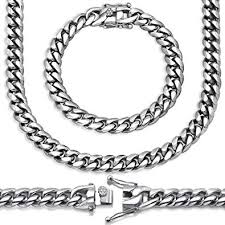 Premium Hand Polished <b>Stainless Steel</b> Solid <b>Miami</b> Cuban Link ...