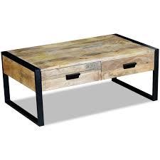 vidaXL <b>Coffee Table</b> with 2 Drawers Solid Mango Wood <b>100x60x40</b> ...
