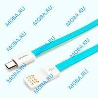 <b>Кабель</b> USB - MicroUSB <b>Pisen MU01</b> (плоский, <b>800</b> мм.) Синий