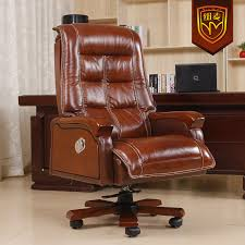 buy niumai reclining leather chairs leather office chair double cushion foot wood swivel chair computer chair from reliable chair clock brown leather office chairs