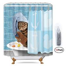 Riyidecor Funny Animal Cat Shower Curtain Metal ... - Amazon.com