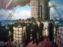 「1905年 - 戦艦三笠が佐世保港内で弾薬庫の爆発事故により沈没。」の画像検索結果