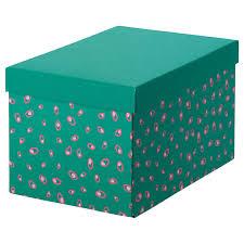 Купить <b>ТЬЕНА Коробка</b> с крышкой, зеленый точечный, 18x25x15 ...