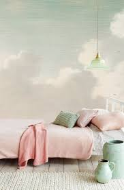 zones bedroom wallpaper: this green tinged cloud wallpaper mural takes you into the intriguing world of old masters and exquisite details available through guthrie bowron stores in