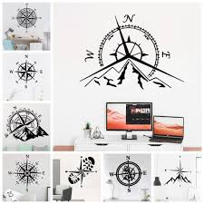 Creative Adventure Mountains And <b>Compass Wall Sticker</b> Home ...
