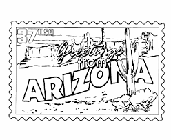 Small Picture USA Printables Arizona State Stamp US States Coloring Pages