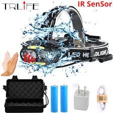 40000LUMS <b>IR</b> Sensor <b>Headlight</b> 4*T6 LED <b>headlamp</b>+2*<b>COB</b>+2 ...
