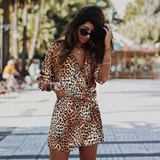 Fashion Leopard Print Long SleevelParty Women Clothing <b>Vintage</b> ...