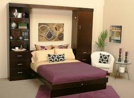 awesome interior small bedroom design ideas with alluring brown hardwood bedframe including purple fabric bedcover also bedroom furniture bedroom small